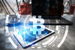 Bitcoin cryptocurrency. Financial technology. Internet money. Business concept. Bitcoin cryptocurrency. Financial technology Internet money. Business concept Stock Photos