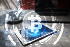 Bitcoin cryptocurrency. Financial technology. Internet money. Business concept. Bitcoin cryptocurrency Financial technology. Internet money. Business concept Royalty Free Stock Images