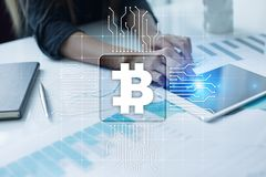 Bitcoin cryptocurrency. Financial technology. Internet money. Business concept. Bitcoin cryptocurrency Financial technology. Internet money. Business concept Royalty Free Stock Photo