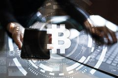 Bitcoin cryptocurrency. Financial technology. Internet money. Business concept. Bitcoin cryptocurrency Financial technology. Internet money. Business concept Stock Photography