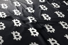 Bitcoin BTC flag cloth illustration crypto royalty free stock images