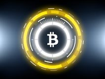Bitcoin cryptocurrency futuristic circle vector illustration. Golden Bitcoin cryprocurrency futuristic vector illustration for background, HUD, graphical user Stock Images