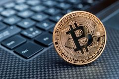 Bitcoin cryptocurrency golden coin Royalty Free Stock Photo
