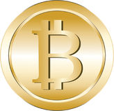 Bitcoin cryptocurrency. Golden illustration of a bitcoin virtual crypto currency Stock Photo