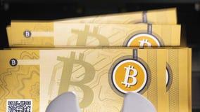 Bitcoin Cryptocurrency gotówka Licząca maszyną zbiory wideo