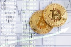 Bitcoin cryptocurrency growth.Decentralized virtual currency coi Royalty Free Stock Photo