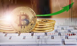 Bitcoin cryptocurrency growth.Decentralized virtual currency coi Stock Photo
