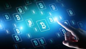 Bitcoin-cryptocurrency Handel und Investitionskonzept Finanztechnologie, Fintech und digitales Geld stockbild