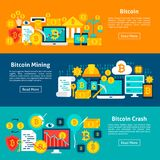 Bitcoin Cryptocurrency Horizontal Banners. Bitcoin Horizontal Banners. Vector Illustration for Website Header. Crypto currency Items Flat Design Stock Images
