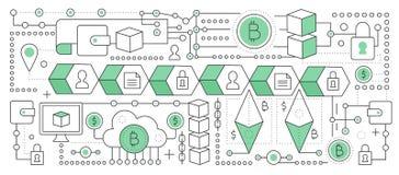 Bitcoin, cryptocurrency i blockchain technologia, Blockchain globalnej sieci transakci łańcuch mieszkanie kreskowy wektor Zdjęcia Royalty Free