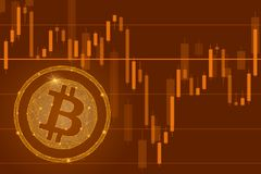 Bitcoin cryptocurrency ICO coin sale event - blockchain business banner concept.The falling of Bitcoin illustration. Bitcoin cryptocurrency ICO coin sale event Royalty Free Stock Photo