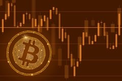 Bitcoin cryptocurrency ICO coin sale event - blockchain business banner concept.The falling of Bitcoin illustration. Bitcoin cryptocurrency ICO coin sale event Royalty Free Stock Photos