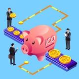 Bitcoin Cryptocurrency ICO Schein-Austausch-Vektorillustration stock abbildung