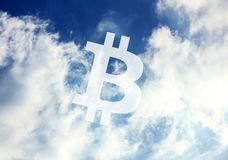Bitcoin Cryptocurrency icon sky royalty free stock photography