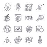 Bitcoin, Cryptocurrency icons: thin monochrome icon set,  Royalty Free Stock Photos