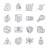 Bitcoin, Cryptocurrency icons thin monochrome icon set, black and white kit. Editable Stroke. vector illustration