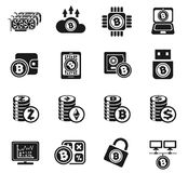 Cryptocurrency and mining icon set Stock Image