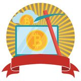 Bitcoin and cryptocurrency mining circled emblem with banner. Crypto currency bit coin. Web and Internet bitcoin money. Bitcoin and cryptocurrency mining circled stock illustration