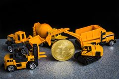 Bitcoin cryptocurrency mining concept. Blockchain technology. Mi stock photography