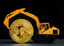 Bitcoin cryptocurrency mining concept. Blockchain technology. Mi royalty free stock photography