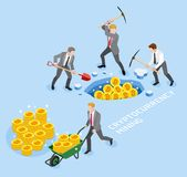 Bitcoin cryptocurrency mining concept. Group of business man use pickaxe working coin mine. Vector illustrations Stock Image