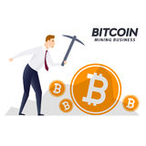 BITCOIN cryptocurrency mining concept with pickaxe business man.  Stock Photo