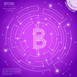 The bitcoin and cryptocurrency mining geometric art concept royalty free stock photos
