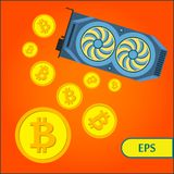 Bitcoin Cryptocurrency Mining Graphic Video Card Royalty Free Stock Photos