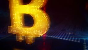 Bitcoin cryptocurrency mining symbol loopable 3d animation