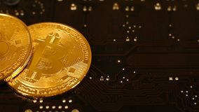 Bitcoin Cryptocurrency on motherboard stock video footage