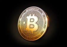 Bitcoin - Cryptocurrency mynt på svart bakgrund tolkning 3d, Royaltyfri Bild
