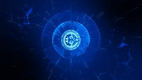 Bitcoin Cryptocurrency no Cyberspace de Digitas Troca de dinheiro da rede da tecnologia Elemento da terra fornecido pela NASA fotografia de stock royalty free