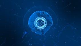 Bitcoin Cryptocurrency no Cyberspace de Digitas Troca de dinheiro da rede da tecnologia Elemento da terra fornecido pela NASA ilustração royalty free