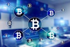 Bitcoin cryptocurrency och blockchainteknologibegrepp på suddig skyskrapabakgrund Royaltyfri Fotografi