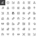 Bitcoin cryptocurrency outline icons set. Linear style symbols collection, line signs pack. vector graphics. Set includes icons as fintech, blockchain, crypto Stock Photos