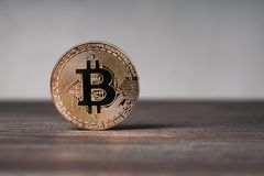 Bitcoin cryptocurrency physical copper coin on wooden desk. Bitcoin cryptocurrency concept, physical copper coin standing upright on wooden table with copy space Royalty Free Stock Images
