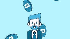 Bitcoin cryptocurrency pieniądze HD animaci sceny royalty ilustracja