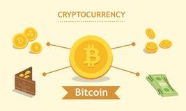 Bitcoin Cryptocurrency Portefeuille de Digital et concept de finances Wal Photo stock