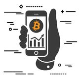 Bitcoin cryptocurrency profit chart on screen of phone Royalty Free Stock Image