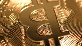 Rotating bitcoin, seamless loop. Bitcoin cryptocurrency rotating seamless loop. Golden crypto coin, macro shot stock video