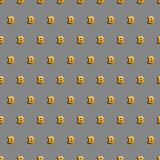 Bitcoin. Cryptocurrency seamless pattern. Digital currency. Golden bitcoin. Crypto currency background. Gold sign of crypto currency on a grey background Stock Image