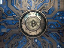 Bitcoin cryptocurrency security  and mining concept. Safe lock w Stock Photography