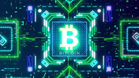 Bitcoin cryptocurrency sign on the digital background. Financial theme