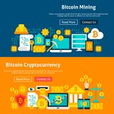 Bitcoin Cryptocurrency Website Banners. Bitcoin Website Banners. Vector Illustration for Web Header. Cryptocurrency Flat Design Stock Photo