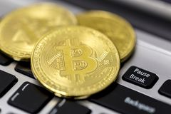 Bitcoin is a cryptocurrency and worldwide payment system. It is the first decentralized digital currency, as the system works wit. Hout a central bank or single stock photo