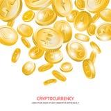 Bitcoin cryptocurrency złociste cyfrowe monety ilustracji