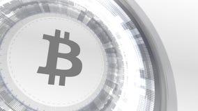 Bitcoin cryptocurrencyicon animaci elementów technologii biały cyfrowy tło royalty ilustracja