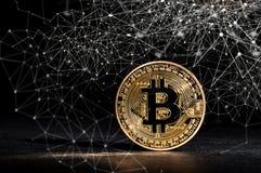 Bitcoin cryptocurrencymynt Arkivfoton