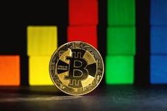 Bitcoin cryptocurrencymynt Royaltyfria Bilder