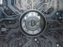 Bitcoin cryptocurrencysäkerhet och brytabegrepp Säkert lås w royaltyfri illustrationer